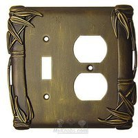 Anne at Home - Bamboo - Bamboo Switchplate Combo Single Toggle Duplex Outlet Switchplate in Pewter Matte