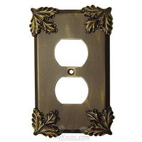 Anne at Home - Oak Leaves - Oak Leaf Switchplate Duplex Outlet Switchplate in Pewter Matte