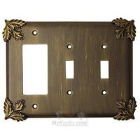 Anne at Home - Oak Leaves - Oak Leaf Switchplate Combo Rocker/GFI Double Toggle Switchplate in Pewter Matte