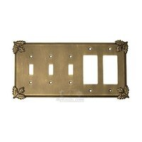 Anne at Home - Oak Leaves - Oak Leaf Switchplate Combo Double Rocker/GFI Triple Toggle Switchplate in Pewter Matte