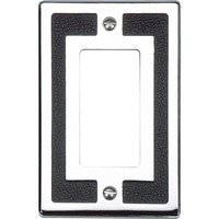 Atlas Homewares - Zanzibar - Single Rocker Switchplate in Black Leather and Polished Chrome