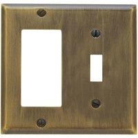 Baldwin Hardware - Switchplates - Single Toggle/Single GFI/Rocker Combination Beveled Edge Switchplate in Satin Brass & Black