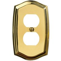 Baldwin Hardware - Switchplates - Single Duplex Outlet Colonial Switchplate in Polished Brass