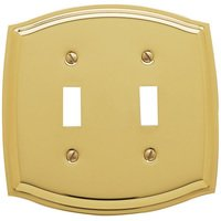 Baldwin Hardware - Switchplates - Double Toggle Colonial Switchplate in Polished Brass