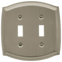 Baldwin Hardware - Switchplates - Double Toggle Colonial Switchplate in Satin Nickel