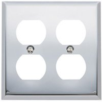 Baldwin Hardware - Switchplates - Double Duplex Outlet Beveled Edge Switchplate in Polished Chrome