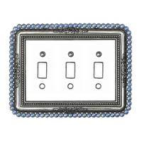 Carpe Diem Hardware - Cache Switchplate - Triple Toggle Switchplate With 84 Clear Swarovski Crystals in Antique Brass