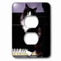 Jazzy Wallplates - Animals - Single Duplex Outlet With Tuxedo Cat