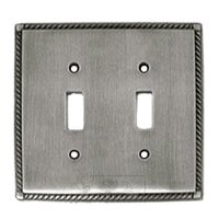 Colonial Bronze - Arlington - Arlington Double Toggle Switchplate in Pewter