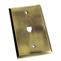 Colonial Bronze - Square Bevel - Square Bevel Phone Jack Switchplate in Antique Brass