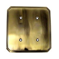 Colonial Bronze - Deco - Deco Double Blank Switchplate in Antique Brass