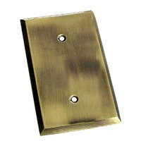 Colonial Bronze - Square Bevel - Square Bevel Single Blank Switchplate in Antique Brass