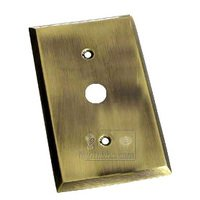 Colonial Bronze - Square Bevel - Square Bevel Cable Jack Switchplate in Antique Brass
