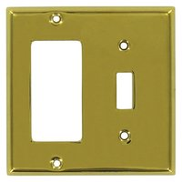 Deltana Hardware - Solid Brass Switchplates - Solid Brass Single Toggle/Single Rocker Combination Switchplate in PVD Brass