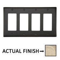 Emtek Hardware - Switchplates - Quadruple Rocker Colonial Wallplate in Tumbled White Bronze