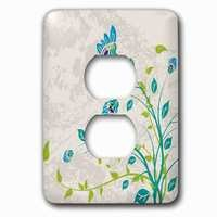 Jazzy Wallplates - Flowers - Single Duplex Outlet With Lime Green Blue Turquoise And Purple Art Nouveau Style Flowers On Grunge Floral Decorative Nature