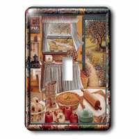 Jazzy Wallplates - Country - Single Toggle Switch Plate With Home Cooking And Country Art