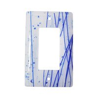 Hot Knobs - Mardis Gras Switchplates - Single Rocker Glass Switchplate in Blue & White