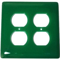 Hot Knobs - Solids Switchplates - Double Outlet Glass Switchplate in Emerald Green