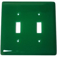 Hot Knobs - Solids Switchplates - Double Toggle Glass Switchplate in Emerald Green