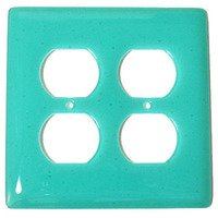 Hot Knobs - Solids Switchplates - Double Outlet Glass Switchplate in Light Aqua Blue