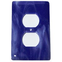 Hot Knobs - Swirls Switchplates - Single Outlet Glass Switchplate in White Swirl & Cobalt Blue