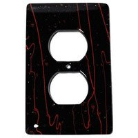 Hot Knobs - Mardis Gras Switchplates - Single Outlet Glass Switchplate in Black & Red