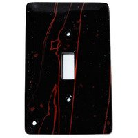Hot Knobs - Mardis Gras Switchplates - Single Toggle Glass Switchplate in Black & Red