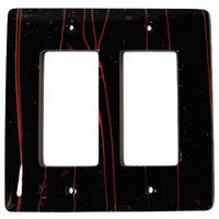 Hot Knobs - Mardis Gras Switchplates - Double Rocker Glass Switchplate in Black & Red
