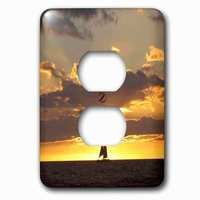 Jazzy Wallplates - Nautical - Single Duplex Outlet With Sailboat At Sunset Sailing Boat Ship With Sails At Sea Ocean Yellow Sailor Sail Nautical Photography