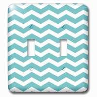 Jazzy Wallplates - Abstract - Double Toggle Wallplate With Teal And White Chevron Zig Zag Pattern Trendy Modern Stylish Turquoise Aqua Blue Zigzag Stripe