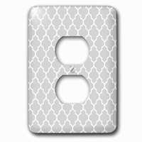 Jazzy Wallplates - Abstract - Single Duplex Outlet With Light Gray Quatrefoil Pattern Grey Moroccan Tile Style Modern Silver Geometric Clover Lattice