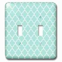 Jazzy Wallplates - Abstract - Double Toggle Wallplate With Mint Quatrefoil Pattern Light Teal Turquoise Moroccan Tiles Pastel Aqua Blue Clover Lattice