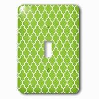 Jazzy Wallplates - Abstract - Single Toggle Wallplate With Bright Green Quatrefoil Pattern Lime Moroccan Tiles Retro Islamic Art White Geometric Clover Lattice