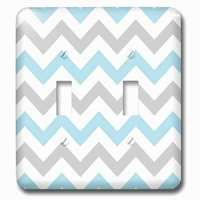 Jazzy Wallplates - Abstract - Double Toggle Wallplate With Gray And Baby Blue Chevron Zig Zag Pattern Stylish Pastel Zigzags