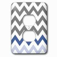 Jazzy Wallplates - Abstract - Single Duplex Outlet With Charcoal Grey Chevron With Blue Zig Zag Accent Gray Zigzag Pattern