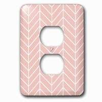 Jazzy Wallplates - Abstract - Single Duplex Outlet With Coral Pink Herringbone Pattern Modern Arrow Feather Inspired Design