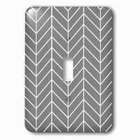Jazzy Wallplates - Abstract - Single Toggle Wallplate With Charcoal Grey Herringbone Gray Chevron Arrow Feather Inspired Pattern