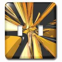 Jazzy Wallplates - Abstract - Double Toggle Wallplate With Black And Tan Digital Art Of Black And Tan Colored Rings In A Stretched Perspective