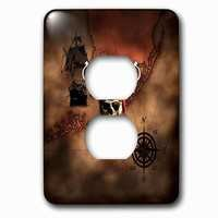 Jazzy Wallplates - Nautical - Single Duplex Outlet With Pirate Skull And Crossed Swords Over A Nautical Pirate Map.