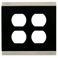 Liberty Hardware - Switchplates - Double Duplex Outlet in Satin Nickel & Black