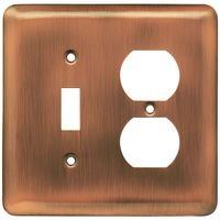 Liberty Hardware - Switchplates I - Brainerd Stamped Steel Round Combo Single Toggle Single Outlet in Antique Copper