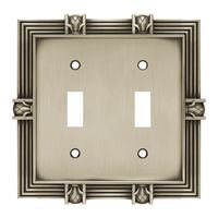 Liberty Hardware - Complete Home French Pineapple - Double Toggle Switchplate in Brushed Satin Pewter