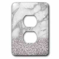 Jazzy Wallplates - Marble - Single Duplex Wallplate With Luxury Grey Silver Gem Stone Marble Glitter Metallic Faux Print