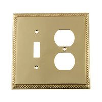 Nostalgic Warehouse - Rope - Toggle/Duplex Switchplate in Antique Brass