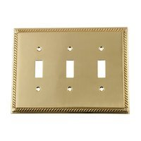 Nostalgic Warehouse - Rope - Triple Toggle Switchplate in Antique Brass