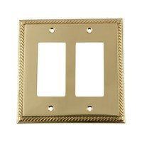 Nostalgic Warehouse - Rope - Double Rocker Switchplate in Unlacquered Brass