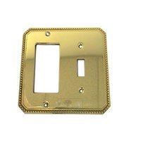 Omnia Industries - Switchplates - Beaded Single Toggle with Single Rocker Cutout Switchplate in Polished and Lacquered Brass