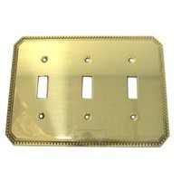 Omnia Industries - Switchplates - Beaded Triple Toggle Switchplate in Polished Brass Lacquered