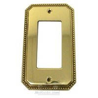 Omnia Industries - Switchplates - Beaded Single Rocker Cutout Switchplate in Polished and Lacquered Brass
